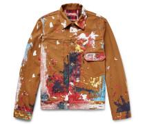 + Levi's Slim-fit Paint-splattered Cotton-canvas Trucker Jacket