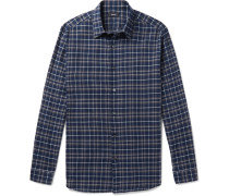 Checked Cotton-flannel Shirt - Navy