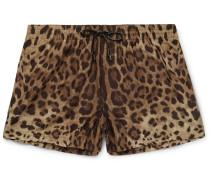 Slim-fit Short-length Leopard-print Swim Shorts