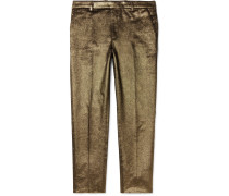 Slim-fit Metallic Cotton Trousers