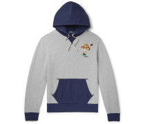Logo-Embroidered Colour-Block Fleece-Back Cotton-Jersey Hoodie