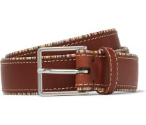 3cm Stripe-trimmed Tan Leather Belt - Tan