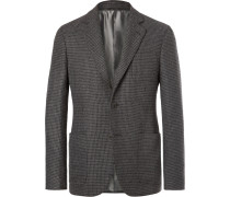 Grey Upton Slim-fit Unstructured Houndstooth Cashmere Blazer