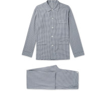 Gingham Brushed Cotton-twill Pyjama Set