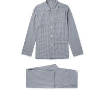 Gingham Brushed Cotton-twill Pyjama Set - Navy