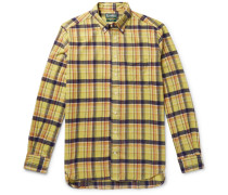 Button-down Collar Checked Brushed Cotton-flannel Shirt - Yellow