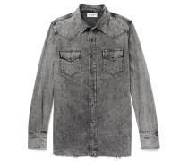 Slim-fit Acid-washed Denim Shirt