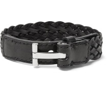 Woven Leather And Silver-tone Bracelet - Black