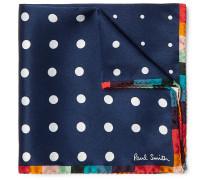 Polka-dot Silk Pocket Square - Navy