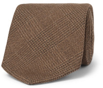 9cm Prince Of Wales Checked Wool, Silk And Cashmere-blend Tie - Brown