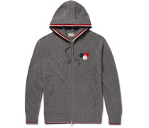Appliquéd Virgin Wool Zip-up Hoodie - Gray