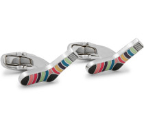 Striped Sock Silver-tone And Enamel Cufflinks - Silver