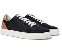 Leather, Suede And Flannel Sneakers - Navy