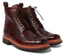Fred Burnished-leather Brogue Boots - Dark brown