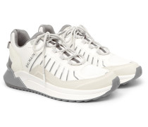 B-Trail Leather and Mesh Sneakers