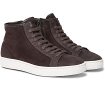 Shearling-lined Suede High-top Sneakers