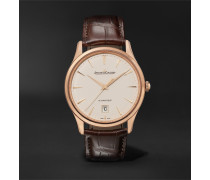 Master Ultra Thin Date Automatic 39mm 18-Karat Rose Gold and Alligator Watch, Ref No. 1232510