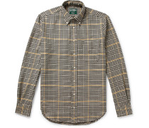 Button-Down Collar Houndstooth Cotton Shirt