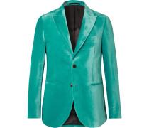 Teal Slim-Fit Velvet Tuxedo Jacket