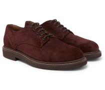 Brushed-suede Derby Shoes - Burgundy