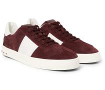 Valentino Garavani Flycrew Leather-panelled Suede Sneakers