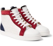 Louis Orlato Suede, Leather and Denim High-Top Sneakers