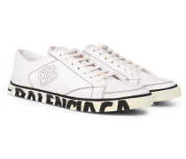 Match Distressed Logo-print Canvas Sneakers - White