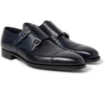 Thomas Leather Monk-strap Shoes - Midnight blue