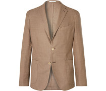 Taupe Unstructured Wool-Hopsack Blazer