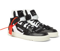Off-court Full-grain Leather And Canvas High-top Sneakers - Black