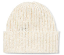 Ribbed Linen and Cotton-Blend Beanie