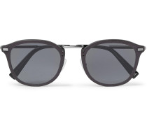 D-frame Leather-trimmed Acetate And Gunmetal-tone Sunglasses - Gray