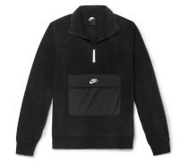 Shell-trimmed Fleece Half-zip Sweatshirt - Black