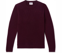 Phil Slim-fit Ribbed Cotton Sweater - Burgundy