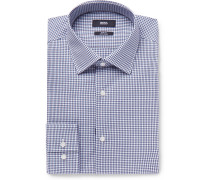 Jenno Navy Gingham Cotton Shirt