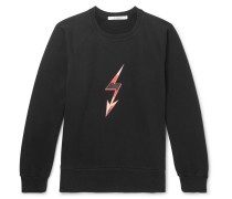 Distressed Printed Loopback Cotton-jersey Sweatshirt - Black