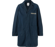 Paint-splattered Embroidered Cotton-twill Coat - Navy