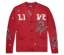 Leather-appliquéd Cashmere And Wool-blend Cardigan