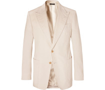 Cream Shelton Slim-Fit Cotton and Linen-Blend Corduroy Blazer