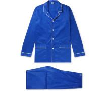 Piped Striped Cotton Satin-jersey Pyjama Set - Storm blue