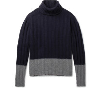 Colour-block Ribbed Wool Rollneck Sweater - Blue
