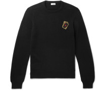 Slim-fit Appliquéd Cashmere Sweater - Black