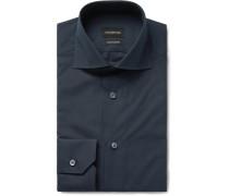 Midnight-blue Trofeo Slim-fit Cutaway-collar Cotton-poplin Shirt