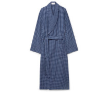 Gingham Brushed-cotton Robe - Navy
