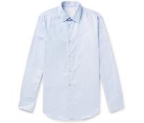 Light-blue Soho Slim-fit Pinstriped Cotton-poplin Shirt - Light blue