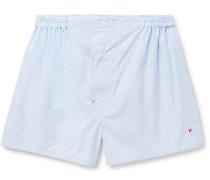 Gingham Cotton Boxer Shorts - Light blue