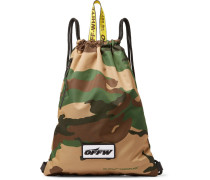 Camouflage-print Shell Drawstring Backpack - Green