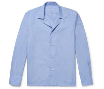 Slim-fit Camp-collar End-on-end Cotton Shirt