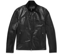 Leather Track Jacket - Black
