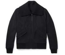 Cashmere And Wool-blend Bomber Jacket - Charcoal